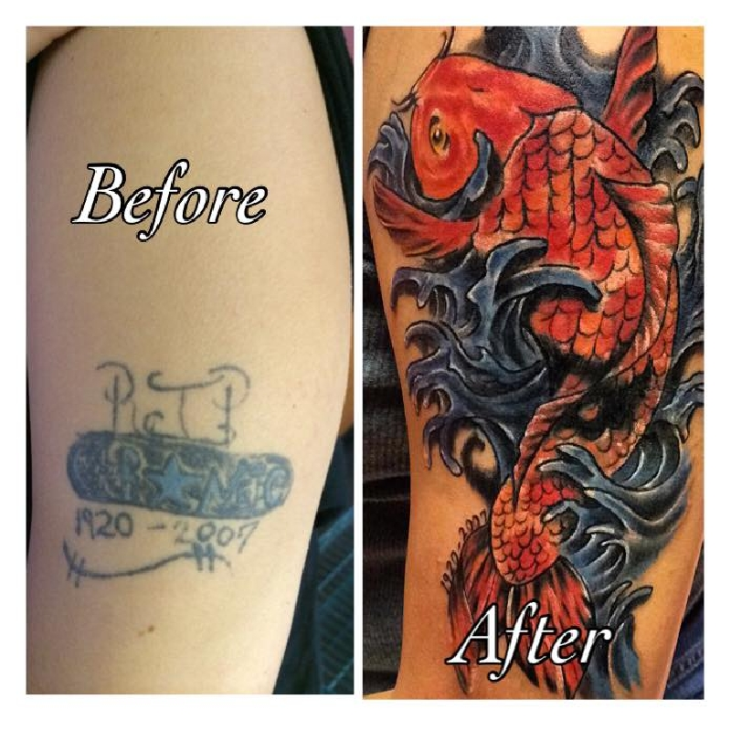 Koi fish cover up coverup worldwide tattoo supply for Koi fish cover up