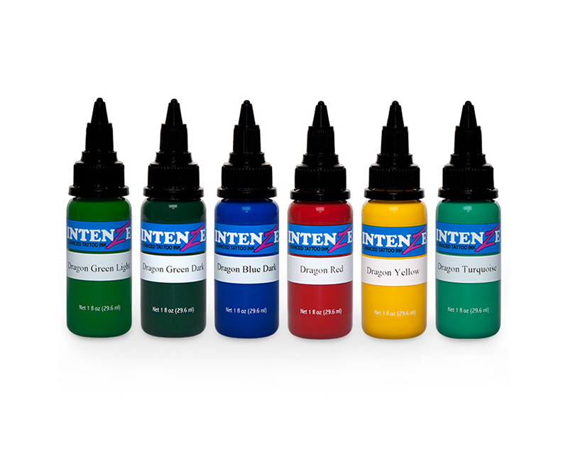 Dragon color tattoo ink set intenze ink sets specials for Grasshopper tattoo supply